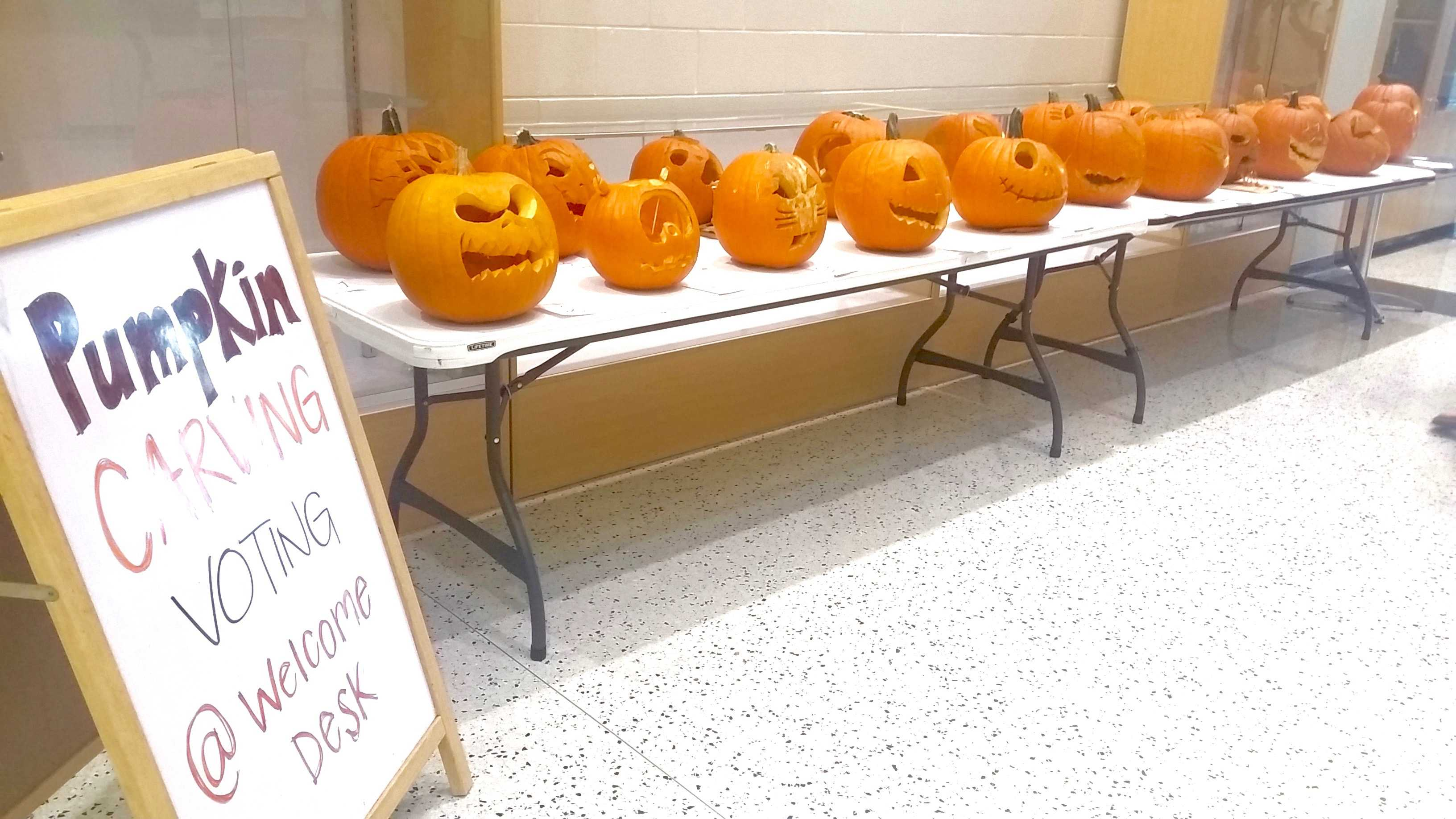 Orange faces appear in wellness center lobby