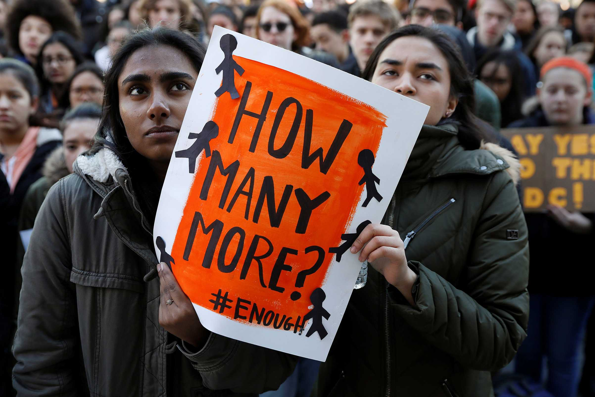 Students participate in a march in support of the National School Walkout in the Queens borough of New York City, New York, U.S., March 14, 2018. REUTERS/Shannon Stapleton