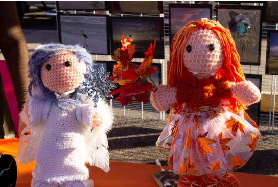 Photo by Sierra Lutz. Fall and Winter themed crochet dolls made by Vianey Sedas for her business Victoria's Art Den. Photo by Sierra Lutz.