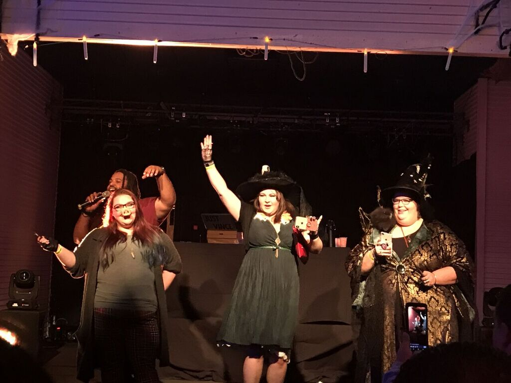 It was a close-call during the costume contest, but Helga Hufflepuff (far right) was ultimately the winner of a cash prize. Image taken by Caleigh Sowder.