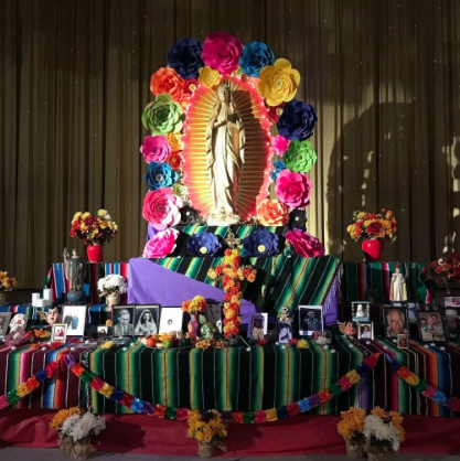 An ofrenda exhibit that was displayed at the Ritz Theater downtown. Leaving gifts like food and even some money, residents of Corpus could place pictures of family members on the ofrenda to honor their loved ones who have passed away.