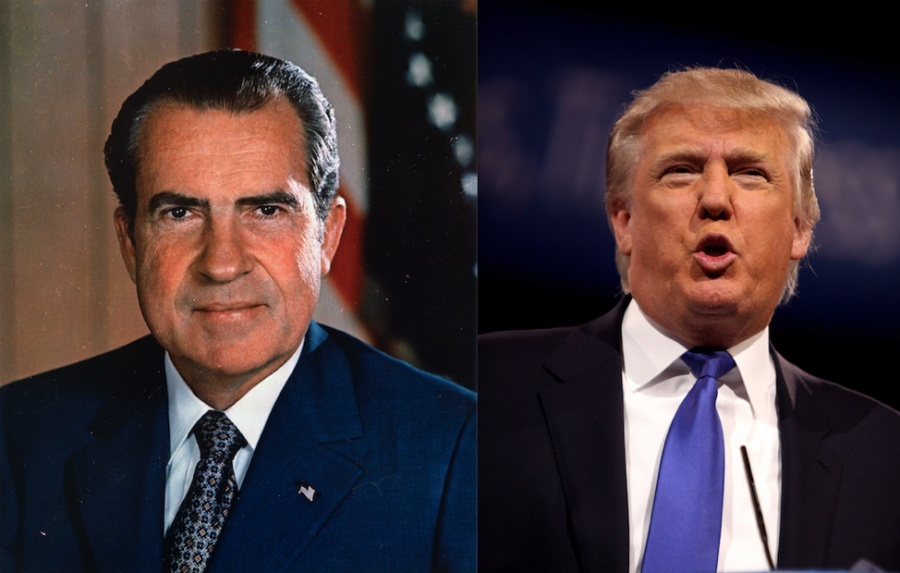 Image courtesy of washingtonmonthlycom/WASHINGTON MONTHLY Presidents Nixon and Trump both famous for their relationships with media.