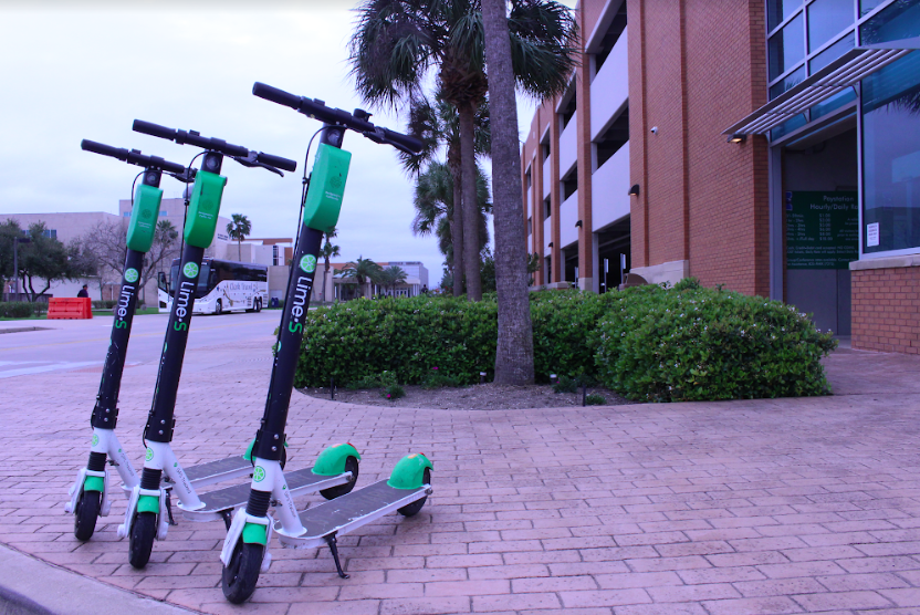 Image courtesy of Cao Nugyen/ISLAND WAVES. Lime-S electric scooters suddenly appeared across TAMU-CC's campus on Monday, Feb. 18.