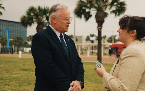 Image courtesy of Arianna Aloia/ISLAND WAVES. Dr. Don Albrecht, Vice President of Student Engagement and Success, explains the newly awarded grant from the Qatar Harvey Fund.