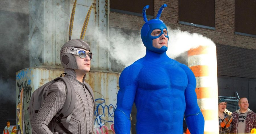 Photo courtesy of Amazon Prime: The Tick and Arthur return for their next big adventure, Pictured: Griffin Newman, Peter Serafinowicz