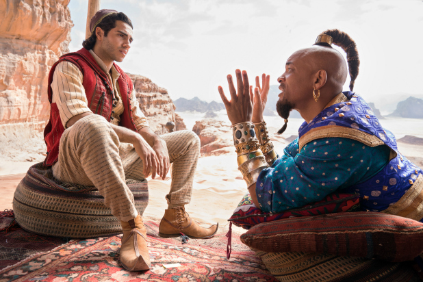 "Photo contributed by The Wrap/thewrap.com  Aladdin (Mena Massoud) listens to Genie (Will Smith) on how to use his three wishes in Disney's live-action remake of ""Aladdin."""