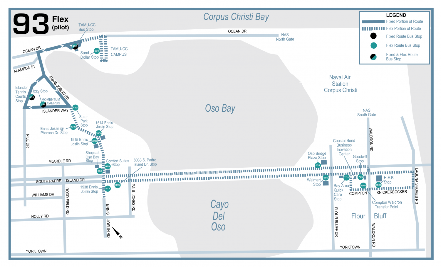 Courtesy of Corpus Christi Regional Transportation Authority. CCRTA closes Route 63 The Wave for new,on-call Route 93.