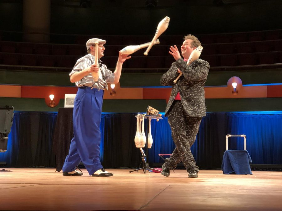 "Photos by Jonathan Garcia/Island Waves-Juggling duo Reid Belstock (left) juggles a set of clubs with Warren Hammond while having friendly banter in their show ""SMIRK."""