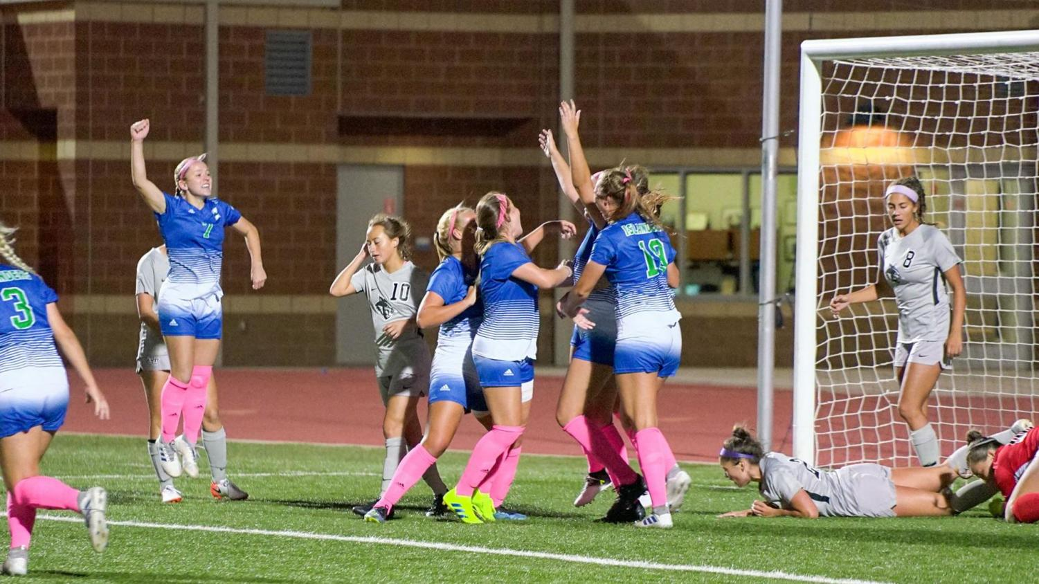 Photo courtesy of Islander Athletics - TAMU-CC women's soccer team celebrates after goal from junior Kayla Gove, sealing the upset for the lady Islanders in a 2-1 victory.