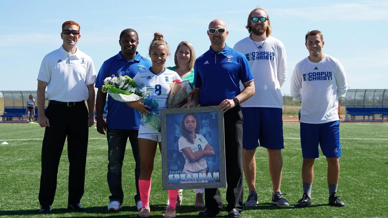 Photo courtesy of Islander Athletics - Senior defender Shayla Spearman seen being recognized on senior day on Oct. 27 against McNeese by athletic faculty and coaching staff.