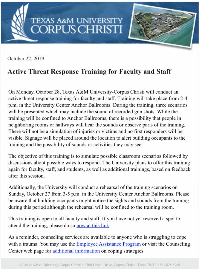 Screenshot courtesy of TAMU-CC Campus Announcements