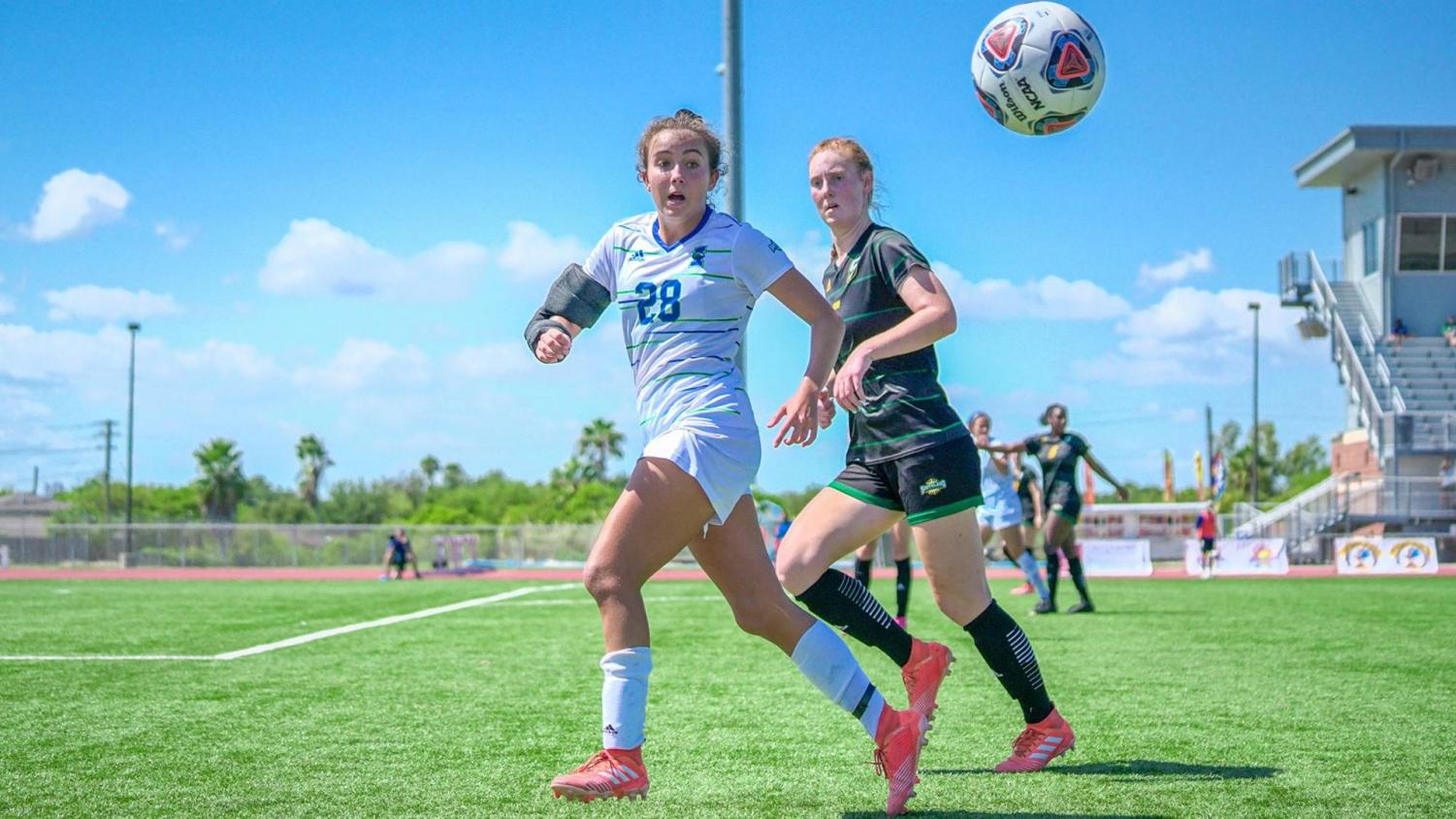 Photo courtesy of Islander Athletics - Freshman Ana Recarte-Pacheco attempting to chase down a pass against Southeastern Louisiana on Oct. 6th. Recarte-Pacheco finished the day with a crucial goal during the first half of play.