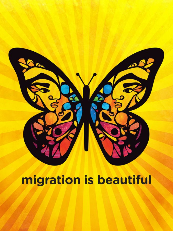 "Poster illustration by Favianna Rodriguez's ""Migration is beautiful"" project."