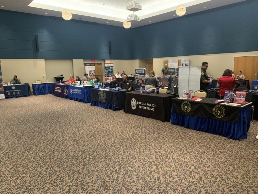 Miguel Gutierrez/ISLAND WAVES - Various organizations attended booths at the Criminal Justice Expo, including the Texas Department of Criminal Justice.