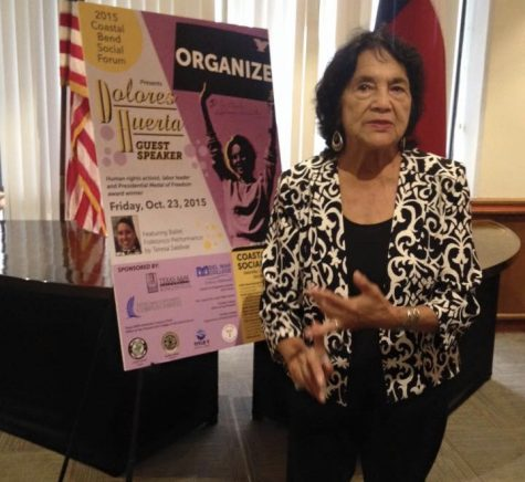 Civil rights activist Dolores Huerta gave a speech during the 2015 Coastal Bend Social Forum at Del Mar College. (Courtesy of Coastal Bend Social Forum/FACEBOOK)