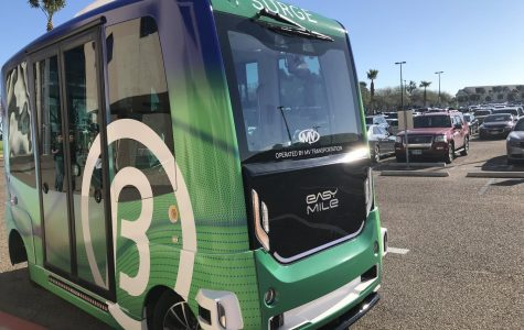 SURGE is a driverless vehicle now operating on TAMU-CC's campus.