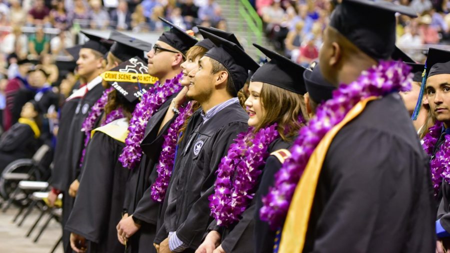 Students line up during the May 2018 Commencement Ceremony.