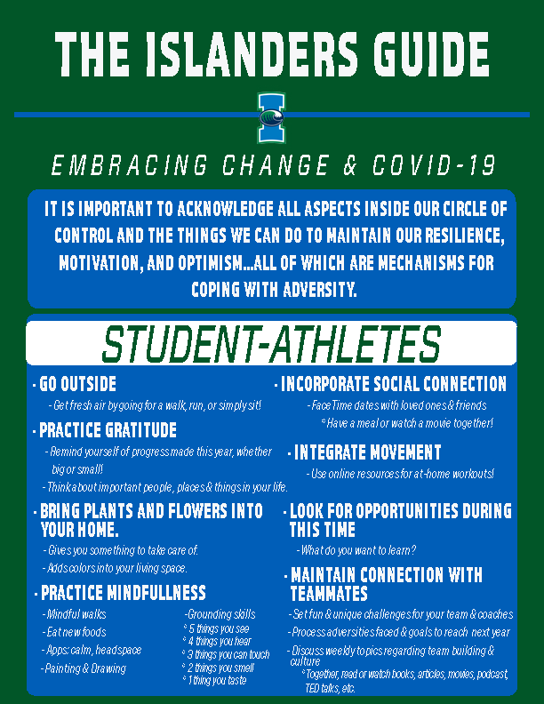 Islander Athletics released this guide on March 31 to aid student athletes following closures.