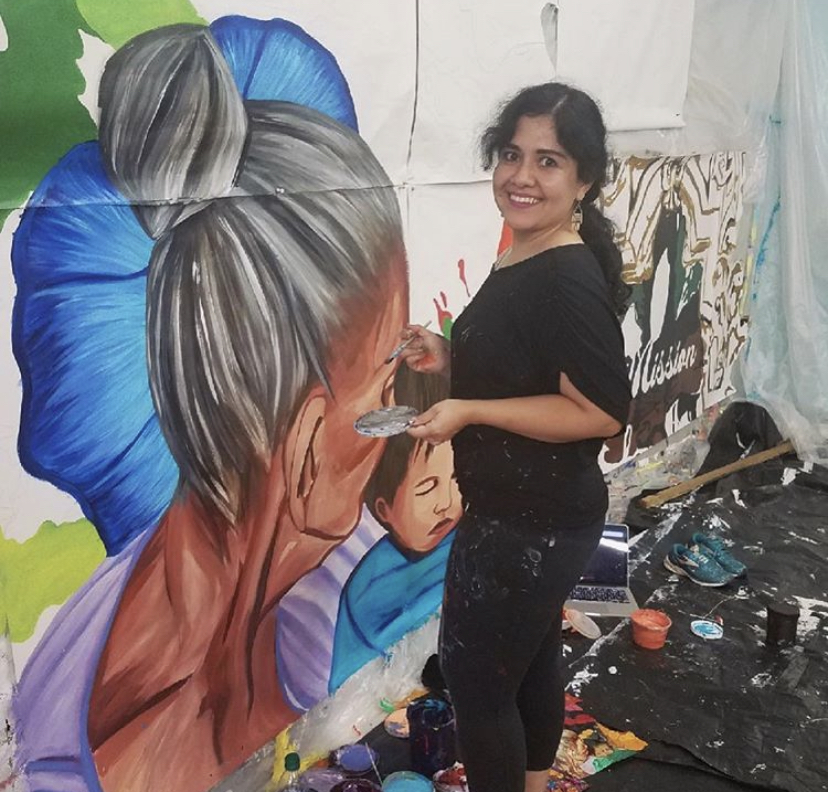 Sandra Gonzalez is seen working on her latest project located in San Antonio.