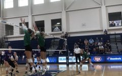 #9 Kyndal Payne and #8 Rachel Young jumped up to block a hit from Tarleton on Saturday Sept. 18.